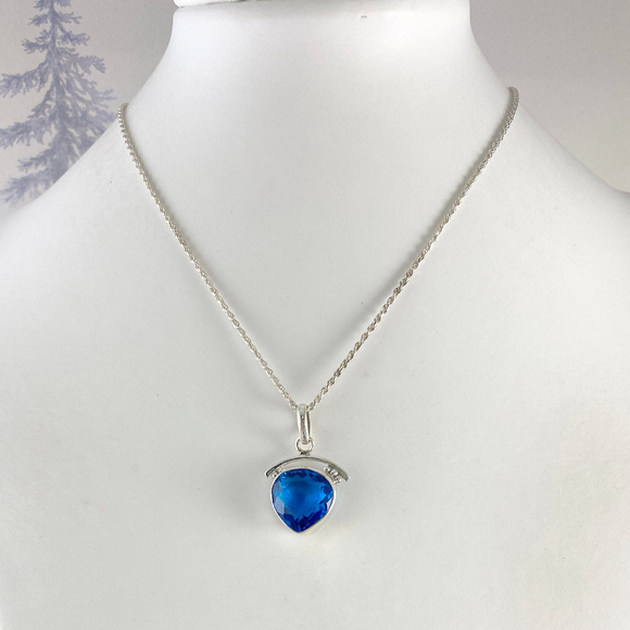 Gem Emporium Jewelry - 5CT Blue Topaz Pendant & 18 inch 2MM Rope Chain